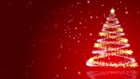 Christmas-Tree-on-Red-Background-Loop
