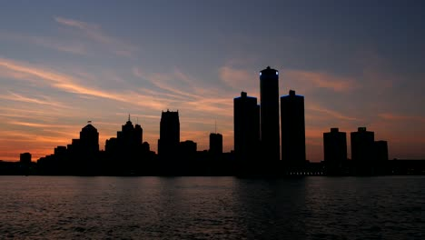 Silhouetted-Detroit-Skyline-at-Sunset