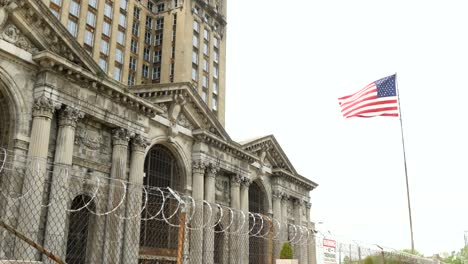 USA-Flag-Flying-outside-of-Michigan-Central-Station