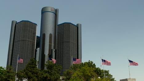 USA-Flags-Flying-Outside-of-Renaissance-Centre-Detroit