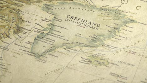 Panning-on-a-Vintage-Map-Across-to-Greenland