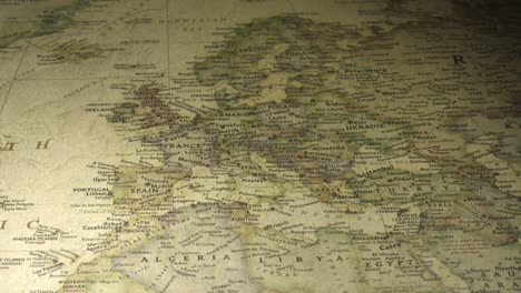 Panning-on-a-Vintage-Map-Across-to-Europe