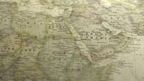 Pan-Across-to-Saudi-Arabia-on-a-Vintage-Map