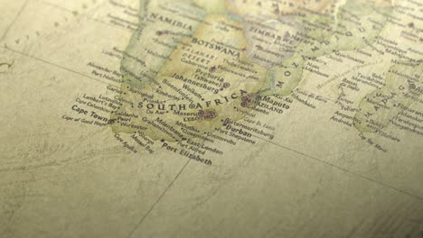 Panning-on-a-Vintage-Map-Across-to-South-Africa