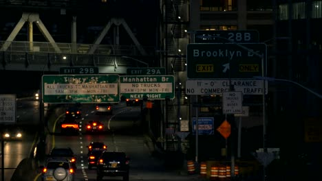 Traffic-Moving-Along-a-New-York-Freeway-at-Night