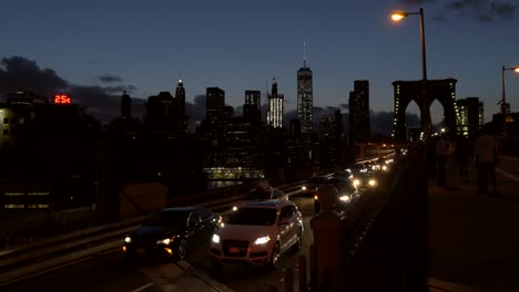 Traffic-Moving-Away-From-Downtown-Manhattan-at-Night