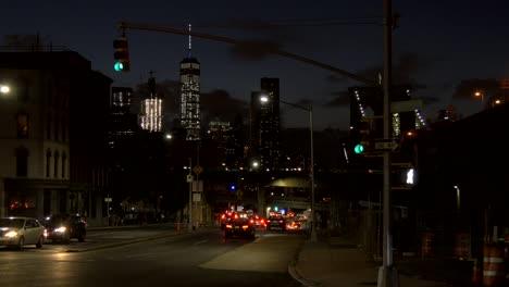 Traffic-Moving-Around-New-York-at-Night