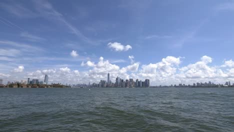 Long-Shot-of-New-York-Skyline-from-Liberty-Island