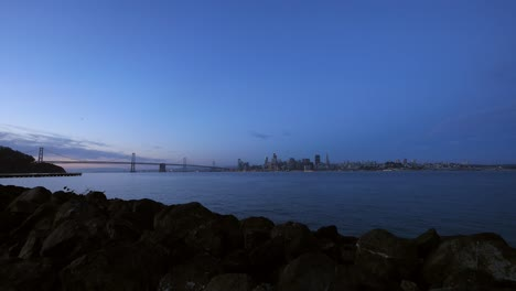 Wide-Shot-of-Oakland-Bay-Bridge