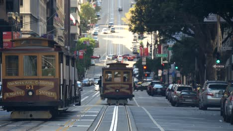 Trams-Moving-Down-California-Street-San-Francisco