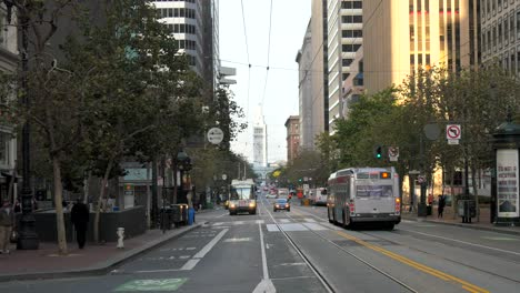Buses-Moving-Down-Market-Street-San-Francisco