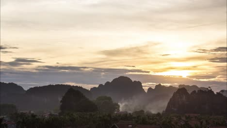 Time-Lapse-of-Sunset-Over-Vietnamese-Mountains