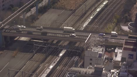 Train-Passing-Under-Motorway-in-Tokyo