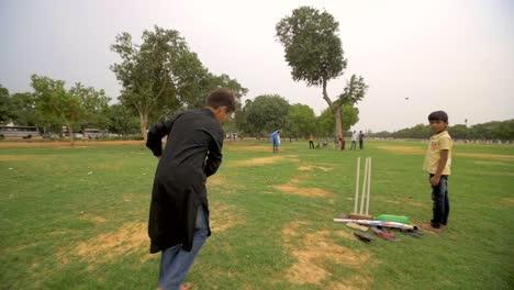 Children-Bowling-in-Cricket-Game
