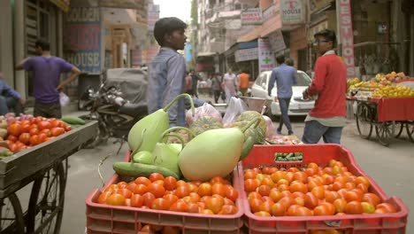 Slow-Motion-Shot-of-a-Boy-Pulling-a-Fruit-Cart