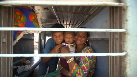 Indian-Woman-and-Children-on-a-Train