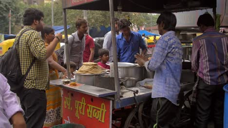 Handheld-Shot-of-Indian-Street-Food-Vendor
