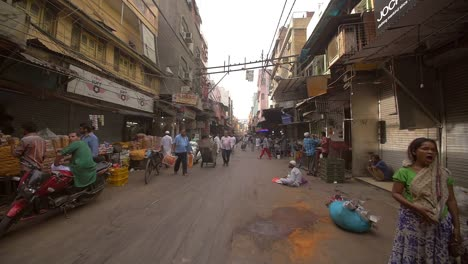 Slow-Motion-Shot-of-a-Wide-Delhi-Street