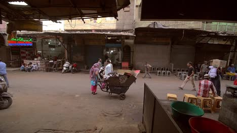 Indian-Woman-Parks-a-Cart-in-a-Delhi-Street