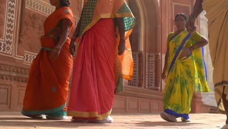 Panning-Shot-of-Indian-Women-Walking