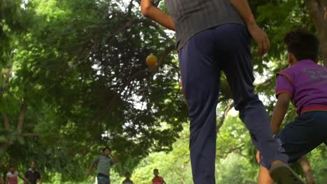 Indian-Boys-Playing-Football-in-a-Park
