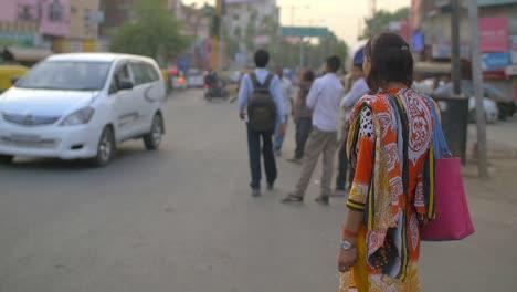 Traditionally-Dressed-Indian-Lady-Stood-on-Roadside