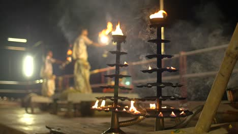 Focus-Pull-on-Ganga-Aarti-Ceremonial-Candelabras