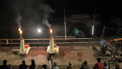 Downward-Panning-Shot-of-Ganga-Aarti-Ceremony