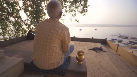 Man-Overlooking-Ganges-Riverbank
