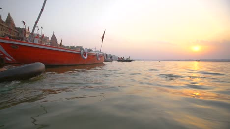 Boy-and-Girl-Swimming-in-the-Ganges-at-Sunset