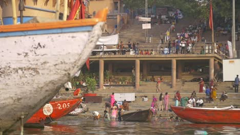 Panning-Shot-of-Rowing-Boat-Prow-on-the-Ganges
