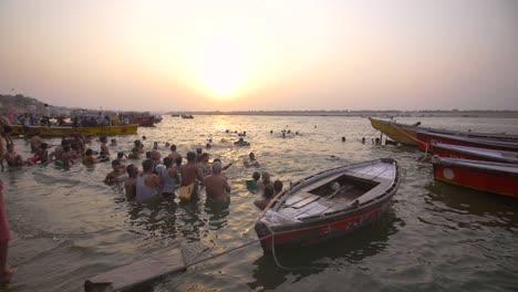 Upward-Panning-Shot-of-the-River-Ganges
