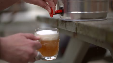 Pouring-Beer-from-a-Keg-in-Pub-Garden