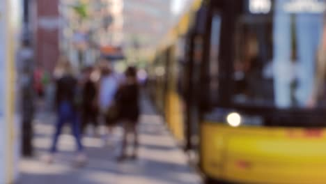Out-of-Focus-Shot-of-People-Getting-off-Train