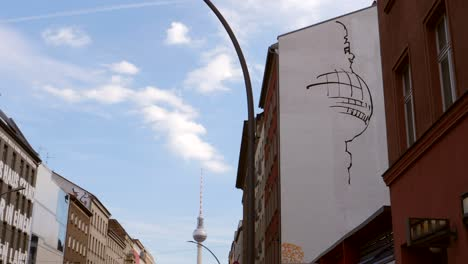 Mural-of-Fernsehturm-in-Central-Berlin