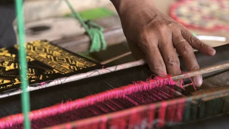 Close-up-of-Woman-Weaving