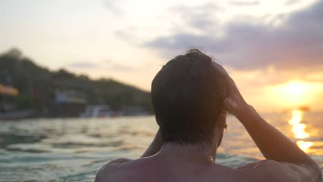 Swimmer-Emerging-From-the-Sea-at-Sunset