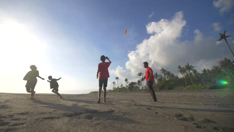 Boys-Flying-a-Kite-on-a-Beach