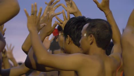 Men-Dancing-and-Chanting-the-Kecak-at-Dusk