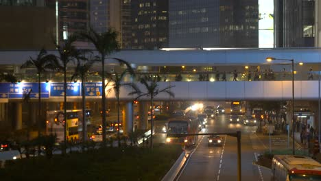Pedestrian-Overpass-in-Hong-Kong-at-Night