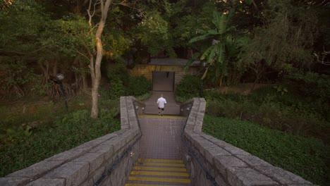 Man-Running-Down-Park-Steps