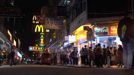 Busy-Side-Street-in-Hong-Kong-at-Night