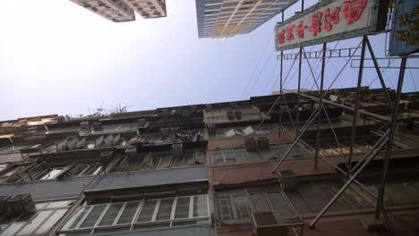 Looking-up-at-Skyscrapers-in-Hong-Kong
