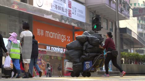 Woman-Pushing-Trolly-with-Bin-Bags