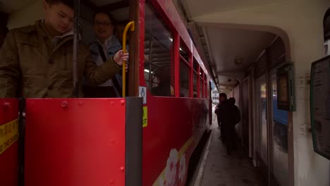 Tram-Pulling-into-Station-in-Hong-Kong