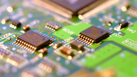 Macro-Shot-Of-Microchips-On-a-PCB