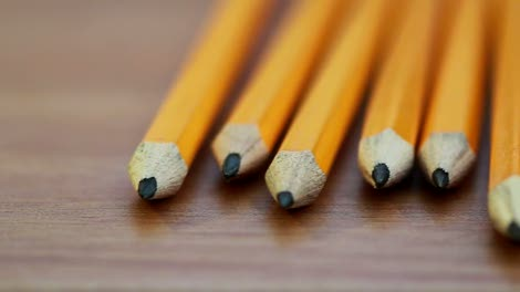 Pencils-on-Table-Panning-Shot
