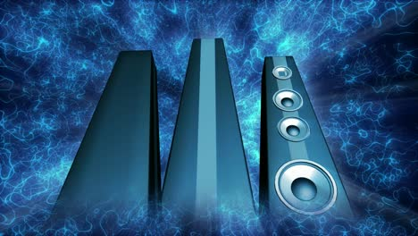 Rotating-Blue-Tower-Speakers-Loop