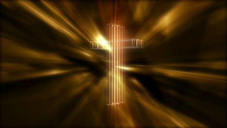 Rotating-Hologram-Cross-Golden