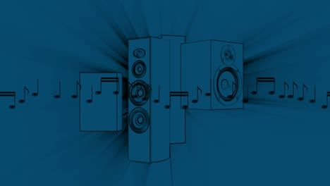 Blue-Speakers-and-Musical-Notes-